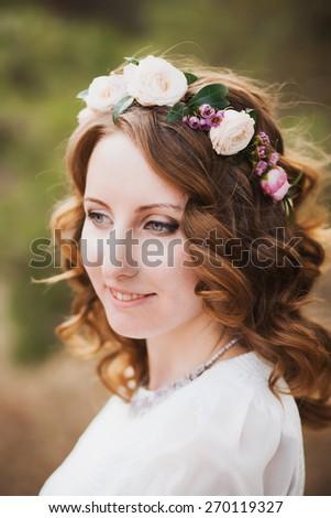 gorgoues female bride profile portrait floral bouquet purple bac stock photo © cboswell