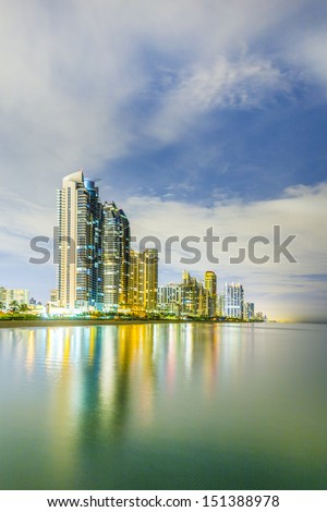 skyline of Miami sunny isles by night with reflections at the oc Stock photo © meinzahn