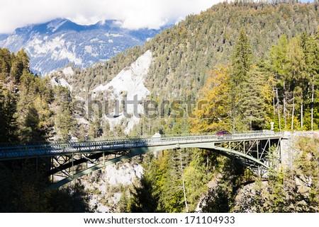 Alps landscape with a bridge near Versam, canton Graubunden, Swi Stock photo © phbcz