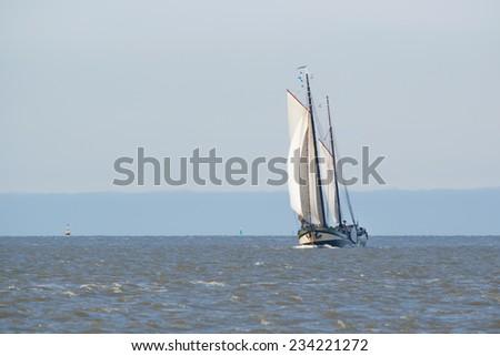 Clipper on Dutch wadden sea Stock photo © ivonnewierink