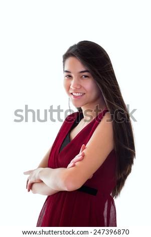 美しい 十代の少女 赤いドレス 立って 笑みを浮かべて ストックフォト © jarenwicklund