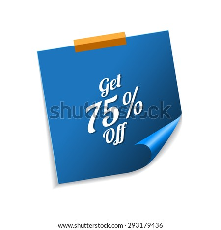 Get 75 Percent Blue Sticky Notes Vector Icon Design Stock photo © rizwanali3d