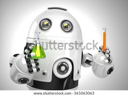 Robot with test tube and flask. Chemical analysis concept. Contains clipping path Stock photo © Kirill_M