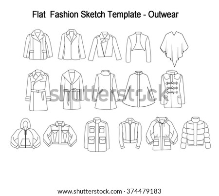 Collection Set of techincal and Industrial Flat fashion template - Library of coats and outwear Stock photo © gigi_linquiet