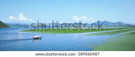 Széles panorámakép tájkép tó park Montenegró Stock fotó © Steffus