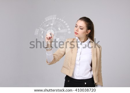 女性実業家 · 作業 · 未来的な · サイバースペース · 環境 · 手 - ストックフォト © stevanovicigor