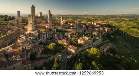 In the very heart of Tuscany - Aerial view of the medieval town  Stock photo © lightpoet
