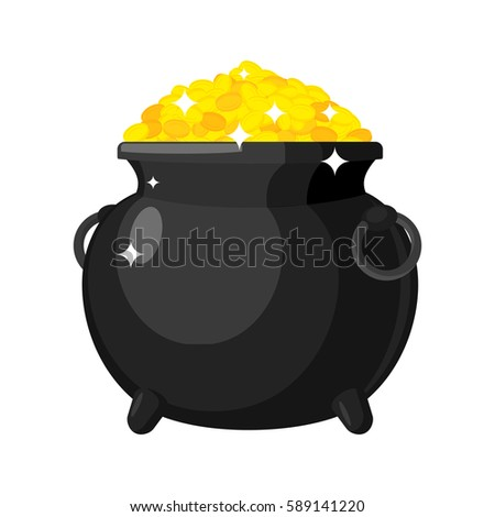 Leprechaun pot gold isolated. bowler golded coins. Legendary tre Stock photo © popaukropa