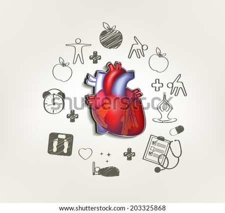 Healthy heart at the middle hand drawn tips around . Healthy foo Stock photo © Tefi