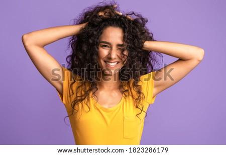 belle · mode · brunette · femme · élégante · robe - photo stock © deandrobot