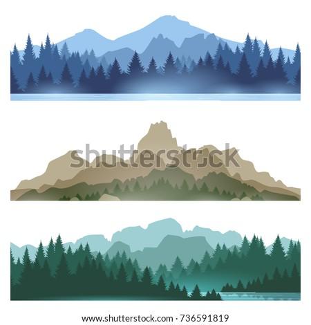 Szett természet hegyek tájkép fenyőfa erdő Stock fotó © Leo_Edition