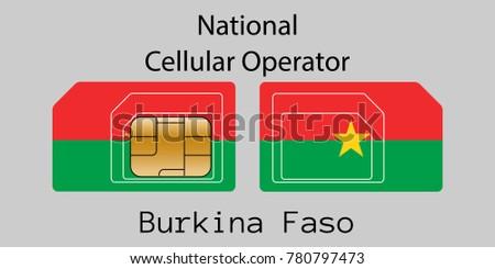 Burkina Faso mobile operator. SIM card with flag. Vector illustration. Stock photo © Leo_Edition