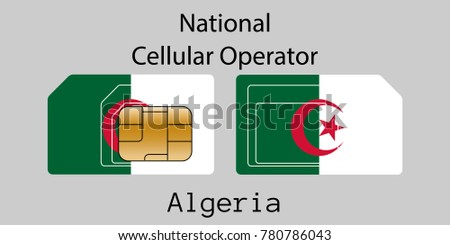 Algeria mobile operator. SIM card with flag. Vector illustration. Stock photo © Leo_Edition