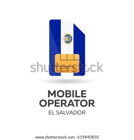 El Salvador mobile operator. SIM card with flag. Vector illustration. Stock photo © Leo_Edition