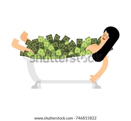 Menina banheira dinheiro mulher banho completo Foto stock © popaukropa