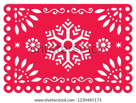 Mexican Fiesta Papel Picado vector design in red - party garland paper cut out with flowers and geom Stock photo © RedKoala