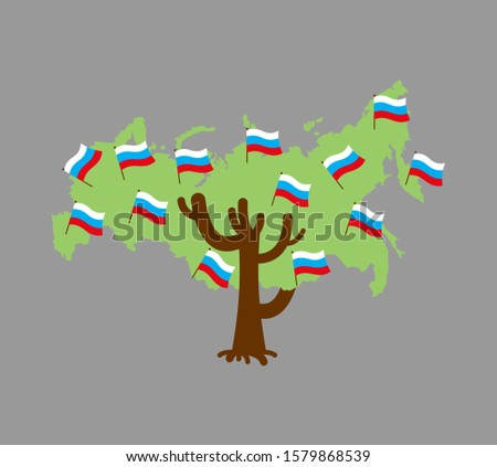 Patriotique arbre Russie carte pavillon Photo stock © popaukropa