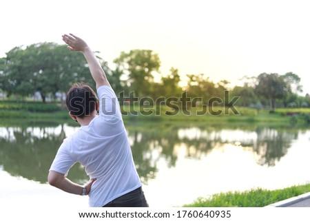człowiek · obok · jezioro · charakter · fitness - zdjęcia stock © is2