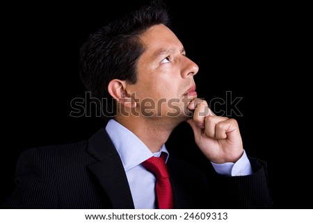 businessman thinks isolated pensive boss in suit hand face ve stock photo © maryvalery