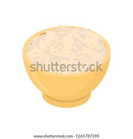 Parboiled rice in wooden bowl isolated. Groats in wood dish. Gra Stock photo © MaryValery