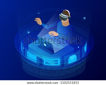 бизнесмен виртуальный очки служба компьютер Сток-фото © wavebreak_media
