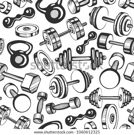 athletic barbell seamless pattern vector background for powerli ストックフォト © popaukropa