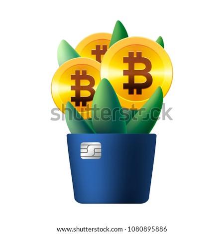 Büyüyen bitcoin ikon gibi çiçek bitki Stok fotoğraf © ikopylov