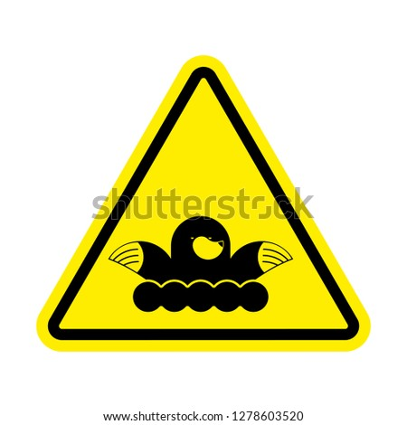 Attention mole. Warning shrew. Yellow prohibitory sign. Pest Far Stock photo © popaukropa
