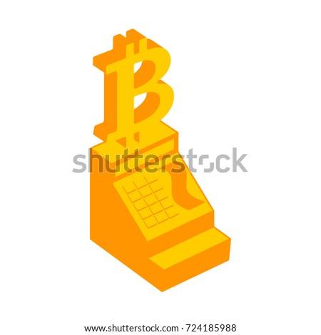 Cash register bitcoin. calculation inCryptocurrency. Vector illu Stock photo © popaukropa