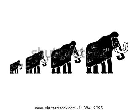 Mammoth family isolated. Prehistoric elephant Flock. Giant anima Stock photo © popaukropa