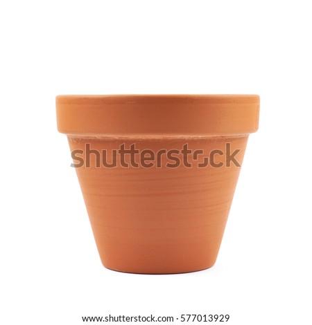 Vide isolé brun argile pot à fleurs Photo stock © popaukropa