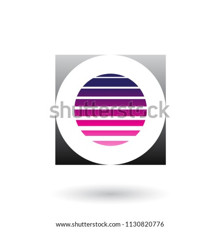 Striped Square Magenta and Black Icon for Letter O Vector Illust Stock photo © cidepix