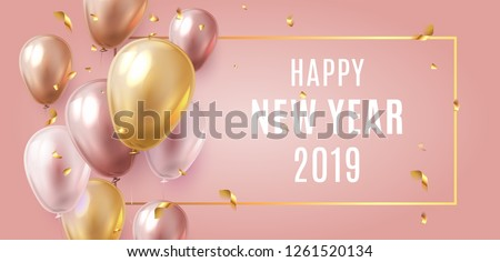Stock photo: Happy birthday vector Celebration party banner Golden foil confetti and white and glitter gold ballo