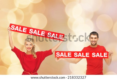 happy couple with red sale sign Stock photo © dolgachov
