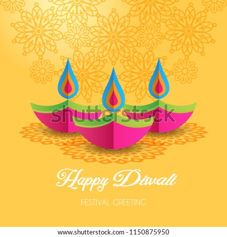 beautiful diwali greeting card design with mandala art and diya stock photo © sarts