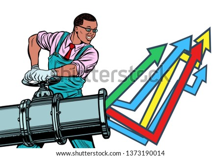 african businessman opens pipe growth chart up isolate on whit stock photo © studiostoks
