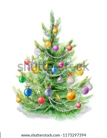 watercolor illustration christmas tree decorated with christmas balls with russian flag stock photo © natalia_1947