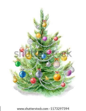 акварель иллюстрация рождественская елка украшенный Рождества Сток-фото © Natalia_1947