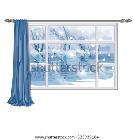 The window overlooking the forest river in winter isolated on white background. Interior design luxu Stock photo © Lady-Luck