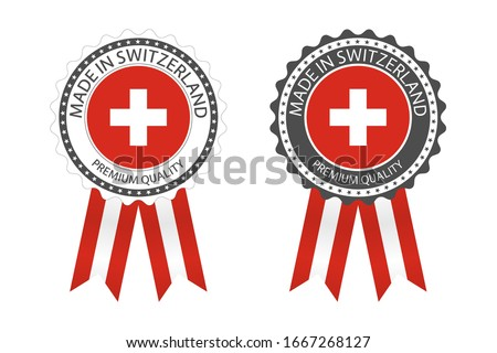 Modern vector Made in Switzerland label isolated on white background, simple sticker with Swiss colo Stock photo © kurkalukas