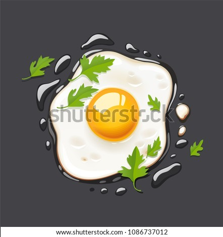 Fried egg. Cooking lunch, dinner, breakfast. Natural product. Fast food egg omelette. Cooking food s Stock photo © MarySan