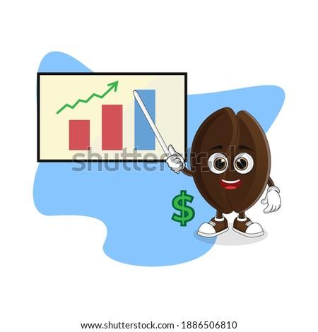 Affaires grain de café mascotte dessinée personnage lunettes de soleil serviette Photo stock © hittoon