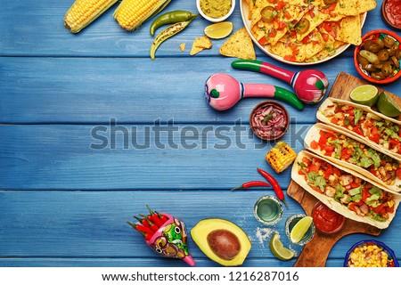 maíz · nachos · salsa · picante · frescos · aguacate - foto stock © artjazz