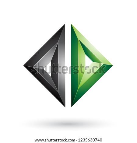 Black and Green Frame Like Embossed Diamond Shape Vector Illustr Stock photo © cidepix