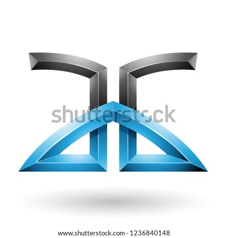 Blue and Black Bridged Embossed Letters of A and G Vector Illust Stock photo © cidepix