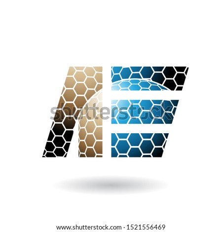 Brown and Blue Dual Letters of A and E with Honeycomb Pattern Ve Stock photo © cidepix