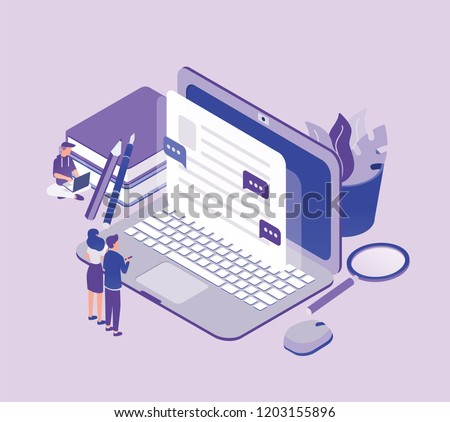 copywriting concept   modern colorful isometric vector illustration stock photo © decorwithme