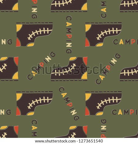 Camping boot seamless pattern. Mixed flat with disstressed style. Simple hiking equipment design. St Stock photo © JeksonGraphics