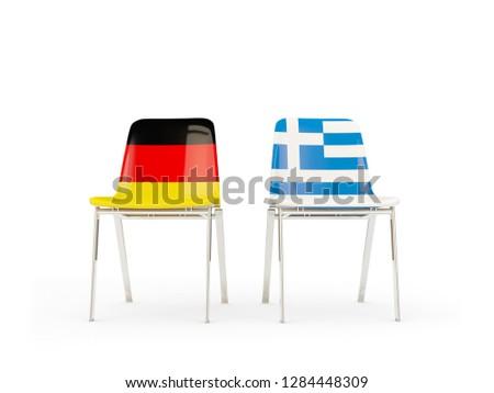 Due sedie bandiere Germania Grecia isolato Foto d'archivio © MikhailMishchenko