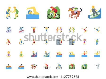 Athlete Set Vector. Man, Woman. Fitness Girl, Tennis, Climber, Baseball, Hockey. Group Of Sports Peo Stock photo © pikepicture